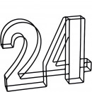 Metall Zahl zweivier, Zahl 24, L29cm, B4,5cm, H23c